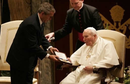 Bush and Pope John Paul II